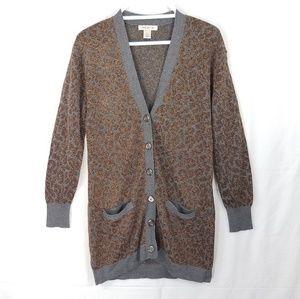 Arden B Sparkly Cheetah Print Button Cardigan